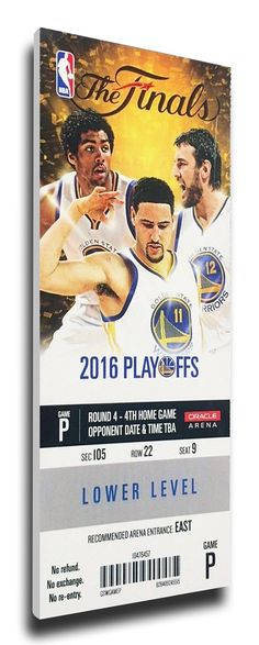 2016 NBA Finals Game 7 Canvas Mega Ticket - Golden State Warriors