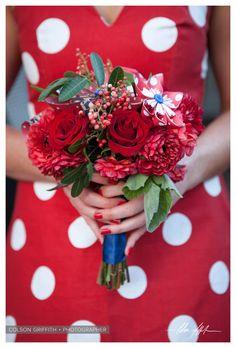 Pinwheel bridesmaid bouquet for a carnival themed wedding