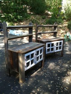 Custom Made Potting Bench with shelves and lockable cabinet by Urban Mining Company