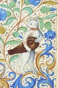 Detalhe de um gato com uma viola de roda em um Livro de Horas francês (fim do século XV), Manuscrito M.26, fol. 88r