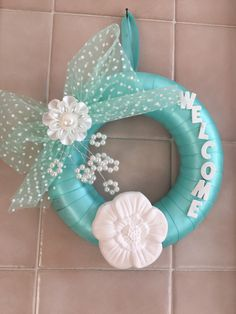 Out door in tiffany colored Satin with big flower scented plaster Tiffany, Big Flowers, Hanukkah, Passion, Wreaths, Handmade, Etsy, Color, Home Decor