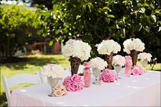 Pretty flowers in cones for decorations.