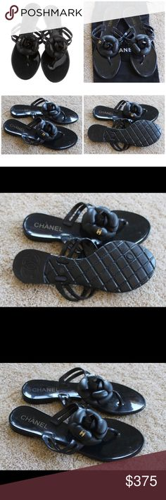 Chanel Jelly Camellia Black/Gold Sandals Authentic Black rubber Chanel thong sandals with camellia accent at tops featuring interlocking gold tone CC logo. Condition: Very Good, light scuffing on soles but nothing major. Comes with dustbag, no box. CHANEL Shoes Sandals