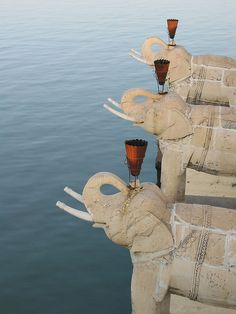 These elephants look out from Jagmandir Island on Lake Pichola in Udaipur, India