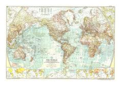 Large wall poster from 1957 - map of the world.