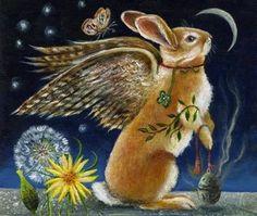 A beautiful angel rabbit by Janie Olsen Lapin Art, John Tenniel, Rabbit Art, Bunny Art, Ancient Symbols, Illustrations, Whimsical Art, Easter Bunny, Happy Easter