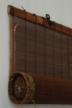 old Japanese rolling screen with very intricate reed work, bamboo struts struts, metal crests, and silk border. Japanese Screen, Japanese Bamboo, Japanese House, Japanese Interior, Japanese Design, Japanese Furniture, Japanese Inspired Bedroom, Buda Zen, Different Forms Of Art