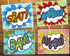 "INSTANT DOWNLOAD 11"" PRINTABLE Superhero Boy Comic Action Phrase Words Party Signs Decorations Photo Booth Props Wall Art"