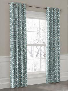 Aqua geometric drapes for a pop of color.