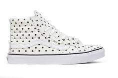 Vans Women's Leather Polka Dots Sk8-Hi Slim - White