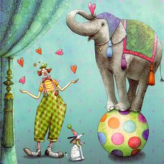 Circus ~ art by mila marquis Circus Art, Circus Theme, Elephant Illustration, Illustration Art, Clown Cirque, Marie Cardouat, Art Fantaisiste, Circo Vintage, Square Card