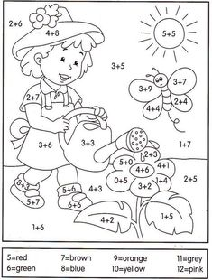 math coloring worksheet addition for easter Math Coloring Worksheets, Preschool Learning, Kindergarten Worksheets, Teaching Math, Preschool Activities, 1st Grade Math, Homeschool Math, Math For Kids, Math Lessons