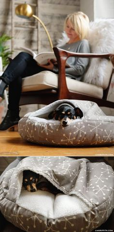DIY DogBed tutorial at www LiaGriffith com Homemade Pet Beds, Diy Dog Bed, Cozy Cave Dog Bed, Pet Beds Diy, Cozy Bed, Animal Projects, Diy Projects, House Projects, Diy Stuffed Animals
