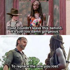 "Michonne and Rick. The Walking Dead S07 E10 ""New Best Friends"". Season 7 Episode 10. #richonne"