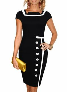 Miusol Black Sailor Nautical Pinup Vintage Retro Pencil Dress #dress #miusol #fashion