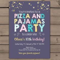 Items similar to Pizza and Pajamas Party Invitation Pizza Pajamas Birthday invite Girl party Purple pink mint yellow photo Digital PRINTABLE ANY AGE on Etsy