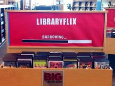 thelibraryperson: theannfoster: I really like this library display I made today for our DVD collection. Clean lines, very eye catching, and makes you want to investigate the collection. Nicely done! Fancy!