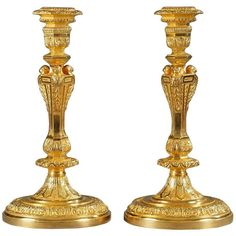 Pair of 19th Century Candlesticks in Regency Style | From a unique collection of antique and modern candle holders at https://www.1stdibs.com/furniture/decorative-objects/candle-holders/