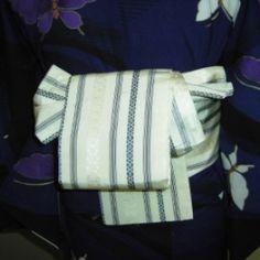 001 半巾帯(お太鼓 - Hanhaba obi used for [ yet to be determined] drum musubi ?  ~ How to tie, see underlined link in original post, or: http://www.hansokubu.com/ai/001.pdf