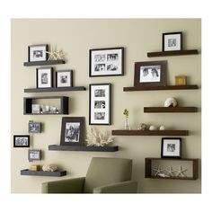 pretty wall with shelves & photos