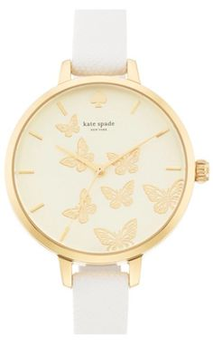 sweet butterfly face leather watch