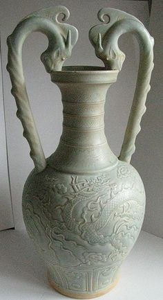 File:Song or Yuan Celadon Ware- Two Dragon Handle Amphora.JPG