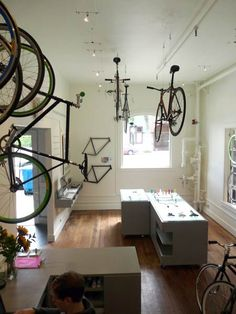 San Francisco design collective Grayscaled have designed the interior of a store in San Francisco, California, that sells custom, fixed-gear bicycles.