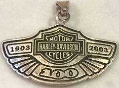 Silver 925 HARLEY DAVIDSON MOTOR CYCLES 100 Year Anniversary Necklace Medal