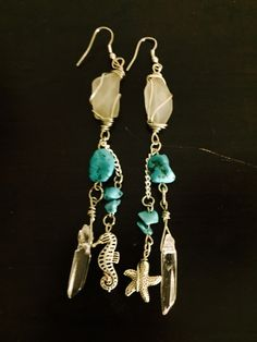 aaseagypsy jewels; dance under the sea with me white hawaiian sea glass with turquoise beads and double sea charm/crystal strand earrings;