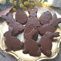 Chocolate sugar cookies with chocolate royal icing Easter bunnies and decorated eggs