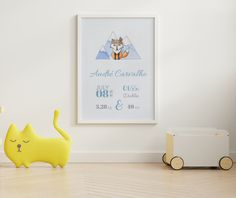 'Jimmy the Fox' is a super cute hand drawn Birth Announcement design from our 'Day One' collection, suitable for all nurseries or baby and toddler room.  'Day One' is all about the memories of one of the best days of our lives - the day your baby gave their first breath and, surely, a day you will never forget.  This artwork will be a beautiful and elegant finishing touch to your baby's nursery and it also makes the perfect gift for new parents. Baby Room Wall Decor, Nursery Room, Newborn Birth Announcements, Birth Weight, Gifts For New Parents, Nursery Signs, Baby Birth, Nurseries, Baby Names