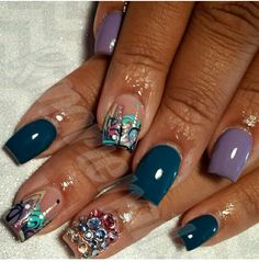 Cute for short nails Beautiful Nail Designs, Cute Nail Designs, Manicure Y Pedicure, Manicure Ideas, Pedicures, Sparkle Nails, Glitter Nails, Abstract Nail Art, Long Nail Art