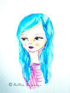 Blue hair (watercolor,marker, stabilo pen on paper)