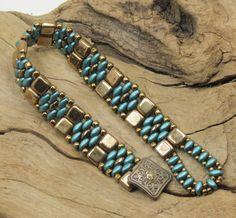 SUPERDUO CZECHMATE TILE Bracelet - Pearl Coat Teal SuperDuos - Bronze Tiles - Toho Seed Beads -   (SD71)