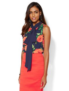 Shop 7th Avenue Design Studio - Tie-Front Shell - Floral . Find your perfect size online at the best price at New York & Company.