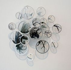 Echolocation - Alan Bur Johnson, small circles of zoomed in subject matter. I like on how it brings our focus to certain areas of his work Wall Sculptures, Sculpture Art, Insect Art, Environmental Art, Hanging Wall Art, Installation Art, Les Oeuvres, Art Inspo, Watercolor Art