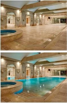 I like the entry of this pool, the stone deck and the placement of the hot tub