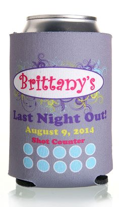 Last Night Out Bachelorette Party Full Color Can Coolers #koozies