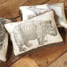 Silk Pillow with Rhino Engraving, from Arhaus.com