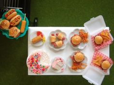 A dollhouse miniature summer BBQ. All foods hand sculpted from polymer clay by the Mouse Market.