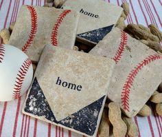 BASEBALL Natural Stone Coaster Set 4 Beer by DandWstonecrafts