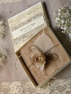 Lace and Buralp  Wedding Invitation, Vintage Wedding Invitations , Rustic Box Wedding invitation
