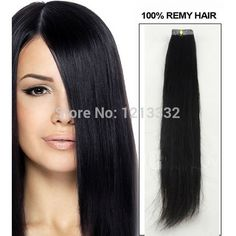 Hot Queen Free Shipping Hot Sale Hair Products Indian Skin Weft Straight Tape Remy Human Hair Extensions (#1B Natural Black)Hair Weft