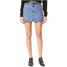 Free People Step Up Denim Mini Skirt (¥6,815) ❤ liked on Polyvore featuring skirts, mini skirts, light denim, zipper mini skirt, free people skirt, short mini skirts, denim mini skirt and mini skirt