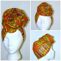 African Kente Wax Print Headwrap by treasureeutopia on Etsy #headwrap #kente #traditional #waxprint #ankara #tribal #african #africanpride #headwrap #protectivestyle #diy #sale #purchase #gift #lightweight #cotton #multicolor #colorful #earthtone