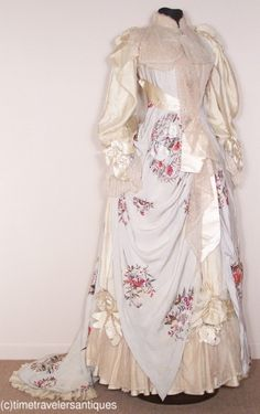 ~c1889 Embroidered Pale Blue Silk Reception Gown~
