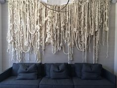 Installation by Jacqui Fink of Little Dandelio. I love the combination of woollen and natural fibers used in her work, such a textural piece