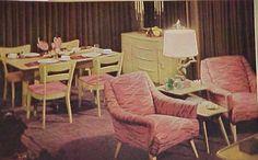 A pink motif. Vintage Furniture, Cool Furniture, Retro Living Rooms, Vintage House Plans, Vintage Interiors, Mid Century House, Mid Century Furniture, Creative Home, Mid Century Design