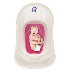 Baby Badesitz Badewannennetz Luxus BadeNetz Wei/ß//Blau Sevibaby Badewannensitz f/ür Babys Bad