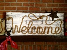 WELCOME Western Wood Rope Sign Decor Country Rustic Distressed Cowboy Room OOAK- 3 FT
